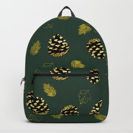 Pine cone and Leaves Pattern Backpack