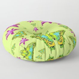 LIME COLOR PURPLE LILIES GREEN MOTHS Floor Pillow