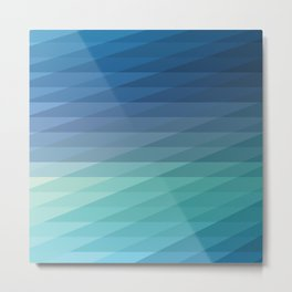 Fig. 042 Blue Geometric Diagonal Stripes Metal Print