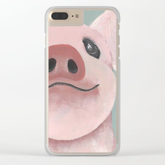 Original Painting - Farm Friends - Baby Pig - Cute Pig Painting Clear iPhone Case