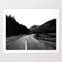 Road through the Glen - B/W Art Print