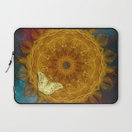 Magical fire mandala and gold butterfly Laptop Sleeve
