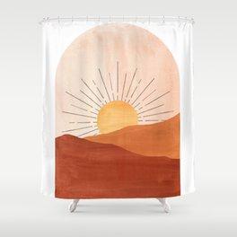 Abstract terracotta landscape, sun and desert Shower Curtain