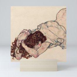 "Egon Schiele ""Kneeling Girl, Resting on Both Elbows"" Mini Art Print"