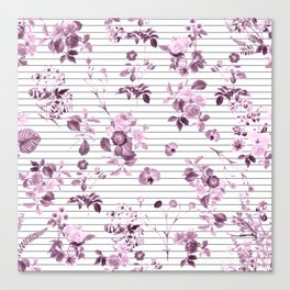 Purple Floral and Minimal Thin Black and White Stripes Canvas Print