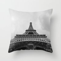 eiffel tower Throw Pillows featuring Eiffel Tower by Evan Morris Cohen
