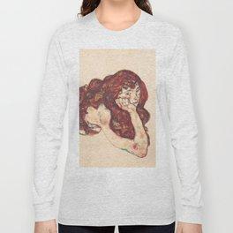 """Egon Schiele """"Auf dem Bauch liegender weiblicher Akt"""" Long Sleeve T-shirt"""