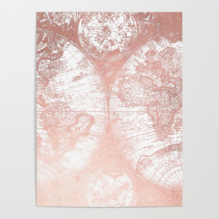 Rose Gold Pink Antique World Map by Nature Magick Poster by ...