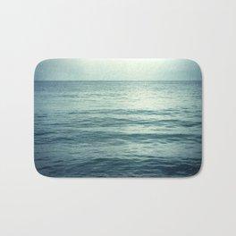 Seascape Photography, Teal Ocean Art, Dark Turquoise Minimal Sea Photo, Blue Ocean Coastal Print Bath Mat