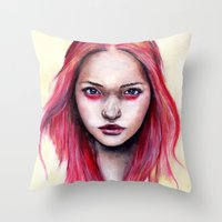 gemma correll Throw Pillows featuring Pink Gemma-2012   by Bella Harris