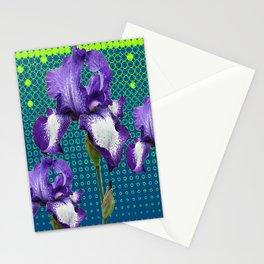 PURPLE IRIS TEAL OPTICAL ART PATTERNS Stationery Cards