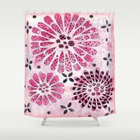 flower pattern Shower Curtains featuring Flower Pattern by Judy Skowron