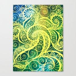 Green Yellow Pattern Shell Canvas Print