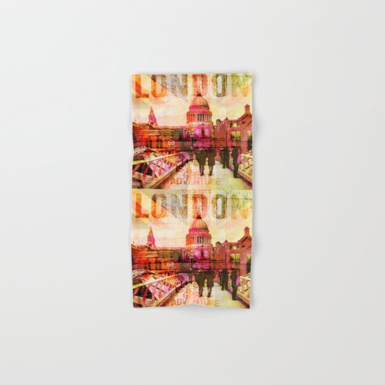 London St. Pauls Cathedral modern illustration typography Hand & Bath Towel