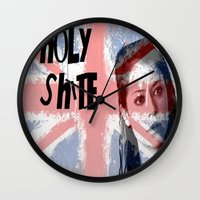 orphan black Wall Clocks featuring Orphan Black  - Holy Shite by Sullied By A Dream