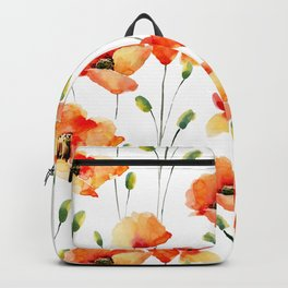 Hand Painted orange yellow watercolor poppies floral Backpack