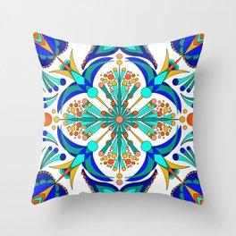 Hummingbird Charm Repeating Bird Spanish Tile Pattern Throw Pillow