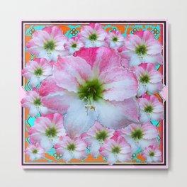 AWESOME PINK AMARYLLIS FLOWERS ART DESIGN Metal Print