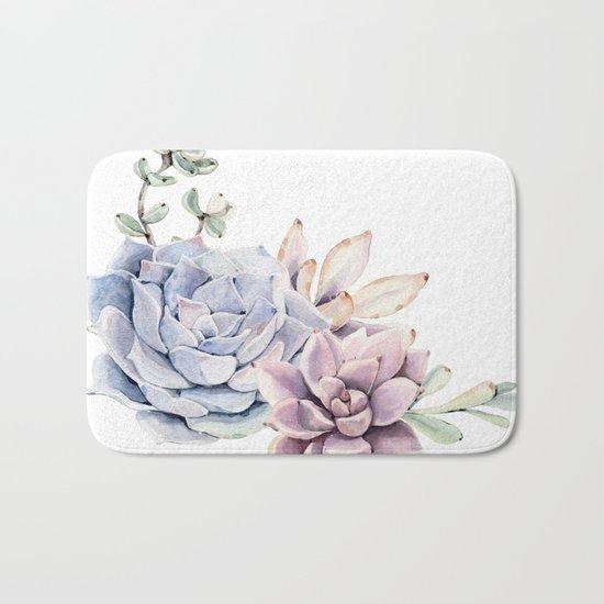 Pristine Succulents Blue and Pink Bath Mat