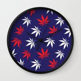 Marijuana leaves print - USA Wall Clock