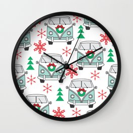 vintage christmas mini vans Wall Clock