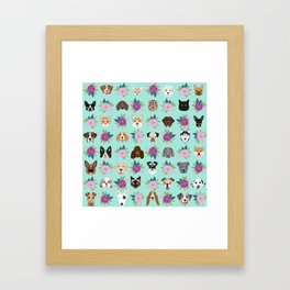 Dogs and cats pet friendly floral animal lover gifts dog breeds cat ladies Framed Art Print