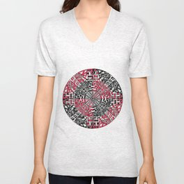 Red and Black Zendala Unisex V-Neck