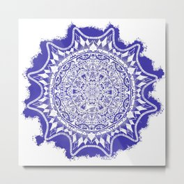 Blue Mandala Pattern Metal Print