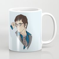 david tennant Mugs featuring Dr Who David Tennant by Hungry Designs