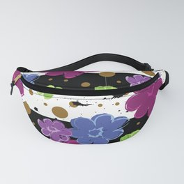 Pop Flowers with Ink Paint Splatter on Cabana Stripe Print Fanny Pack