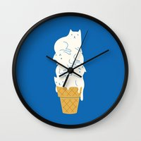 ice Wall Clocks featuring Cats Ice Cream by I Love Doodle