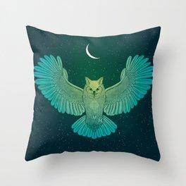 Cosmic Owl Spirit Guide Throw Pillow