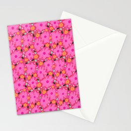 Pink Flower Pattern - Retro, Bright Flowers Stationery Cards