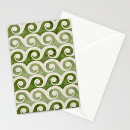 Vintage Wave Woodblock  - Green Pattern Stationery Cards