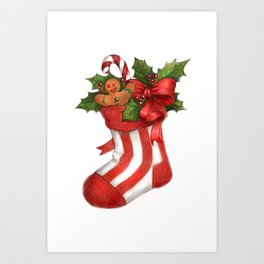 Christmas sock Art Print