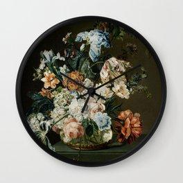 Still Life with Flowers (1762) by Cornelia van der Mijn Wall Clock
