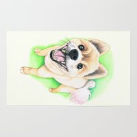 pomeranian Area & Throw Rugs featuring Pomeranian dog  - F.I.P. - Jack-Jack by PaperTigress
