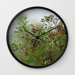 Little Grey Bird Perching on a Bush Wall Clock