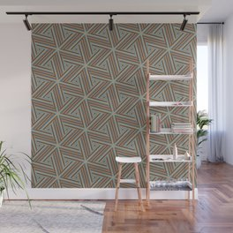 Brown and Blue Op Art Triangles Wall Mural