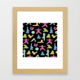 Rainbow Yoga Pattern Framed Art Print