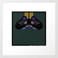 air jordan Art Prints featuring AIR JORDAN 5 BLACK by originalitypieces