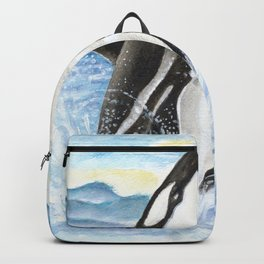 Breaching Orca Whale Watercolor Backpack
