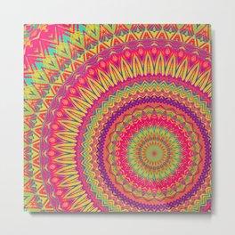 Mandala 376 (Neon) Metal Print