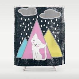 Rainy Day Happy Cat Shower Curtain