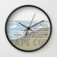 cape cod Wall Clocks featuring cape cod by marie grady palcic