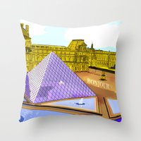 bonjour Throw Pillows featuring Bonjour by Hola Vicky
