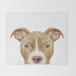 Pit Bull light Brown 2,Dog illustration original painting print Throw Blanket