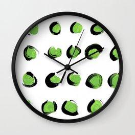 Bright green polka dots Wall Clock