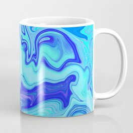 Blue Ocean Waves Marbleized Pattern  Coffee Mug