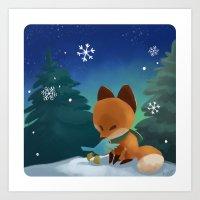 Fox & Boots - Winter Hug Art Print